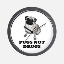 Funny Pugs not drugs Wall Clock