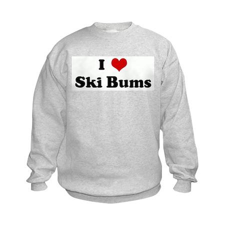I Love Ski Bums Kids Sweatshirt