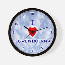 I Love Gwendolyn (Blue) Valentine Wall Clock