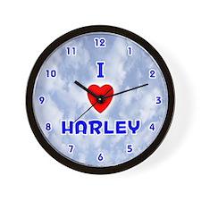 I Love Harley (Blue) Valentine Wall Clock