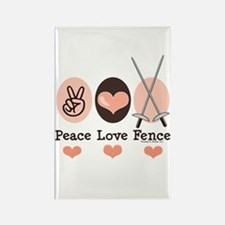 Peace Love Fence Fencing Rectangle Magnet