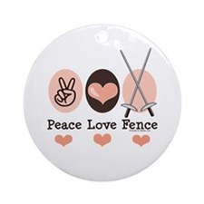 Peace Love Fence Fencing Ornament (Round)