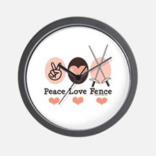 Peace Love Fence Fencing Wall Clock
