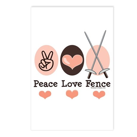 Peace Love Fence Fencing Postcards (Package of 8)
