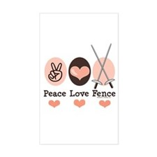 Peace Love Fence Fencing Rectangle Decal