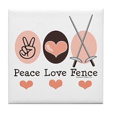 Peace Love Fence Fencing Tile Coaster