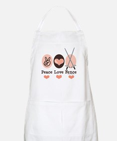 Peace Love Fence Fencing BBQ Apron