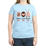 Peace Love Fence Fencing Women's Light T-Shirt