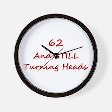 62 Still Turning Heads 1C Red Wall Clock