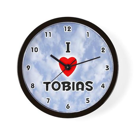 I Love Tobias (Black) Valentine Wall Clock