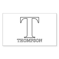 White T for Thompson Rectangle Decal
