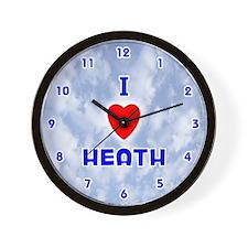 I Love Heath (Blue) Valentine Wall Clock