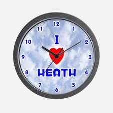I Love Heath (Blue) Valentine Wall Clock