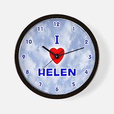 I Love Helen (Blue) Valentine Wall Clock