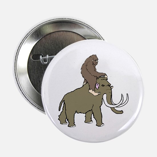"Bigfoot riding a woolly mammoth 2.25"" Button"