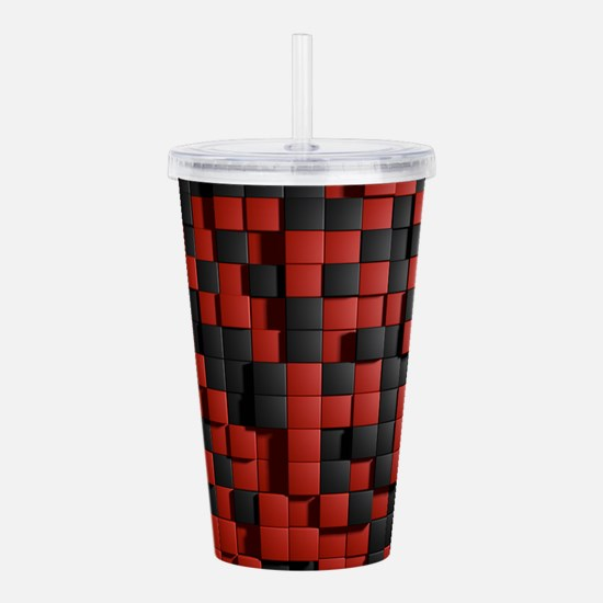 Abstract Black Red Mod Acrylic Double-wall Tumbler