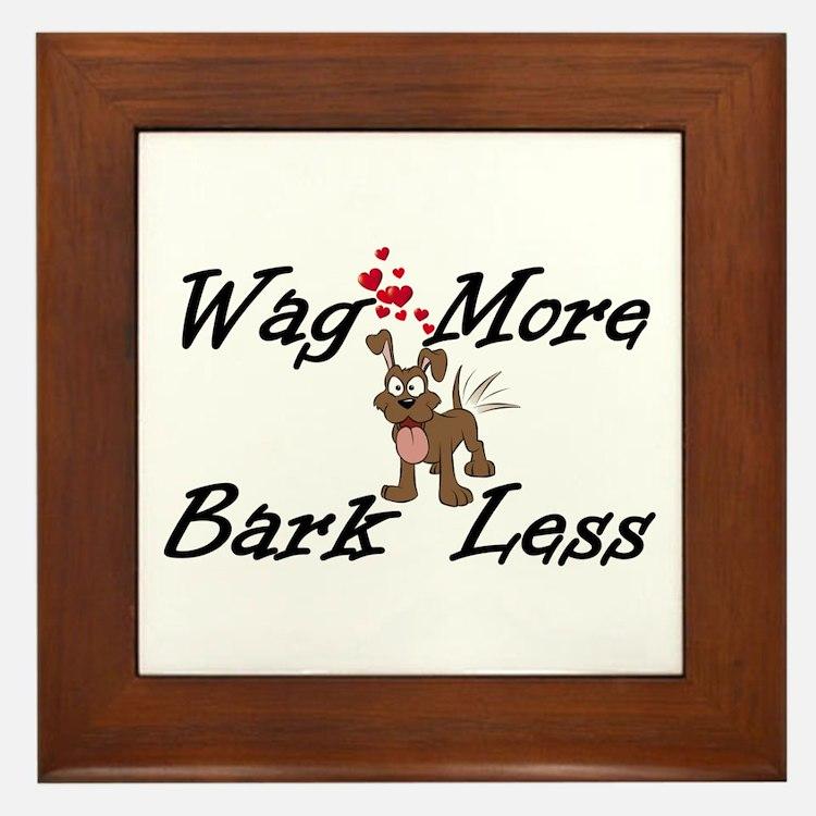 Wag More Bark Less Framed Tile