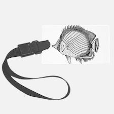 Vintage Fish Illustration Black Luggage Tag