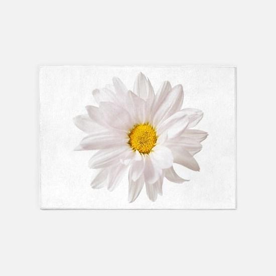 Daisy Flower White Yellow Daisies F 5'x7'Area Rug