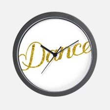 Dance; Gold Faux Foil Glitter Metallic Wall Clock