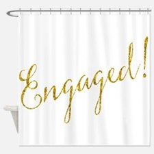 Engaged Gold Faux Foil Glitter Meta Shower Curtain
