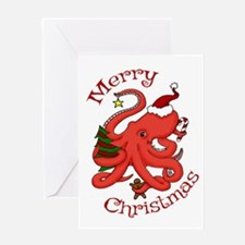 Christmas Octopus Greeting Cards
