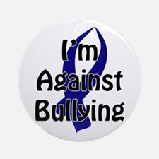Anti-Bullying Blue Ribbon Round Ornament