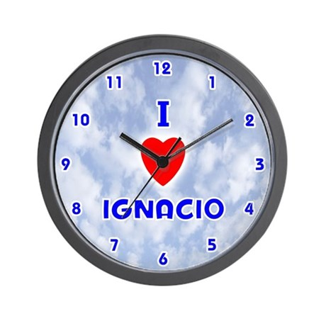 I Love Ignacio (Blue) Valentine Wall Clock