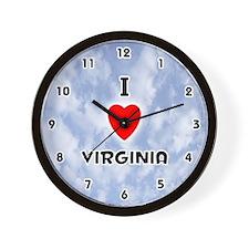 I Love Virginia (Black) Valentine Wall Clock