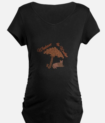 Cool Funny Whatever the Weather Cat Maternity T-Sh