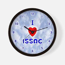 I Love Issac (Blue) Valentine Wall Clock