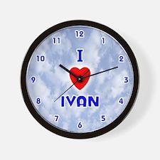 I Love Ivan (Blue) Valentine Wall Clock