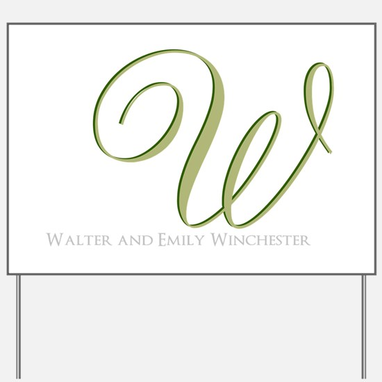 Elegant Monogram and Text by LH Yard Sign