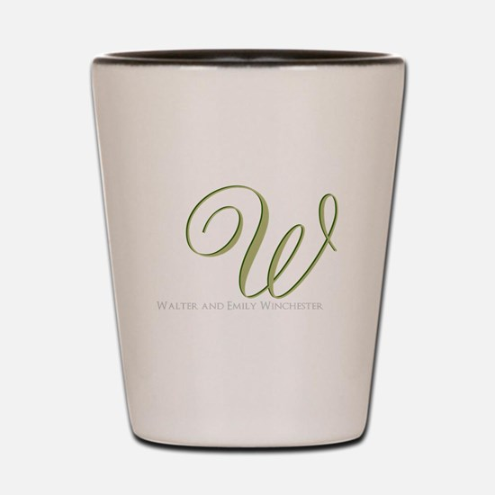Elegant Monogram and Text by LH Shot Glass