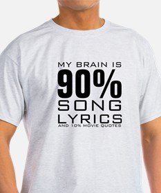 MY BRAIN IS 90% SONG LYRICS AND 10% MOVIE QUOTES T