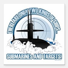 "Submarines And Targets Square Car Magnet 3"" x 3"""