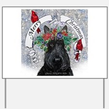 Scottie Christmas Snow Yard Sign