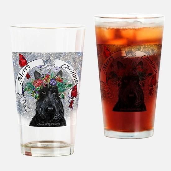 Scottie Christmas Snow Drinking Glass