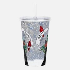 Snow Scottie Christmas Acrylic Double-Wall Tumbler