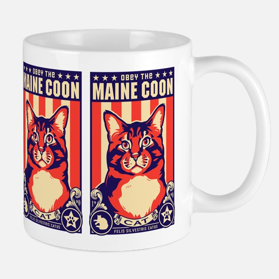 Obey the Maine Coon Cat! USA Mug