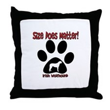 Size Matters Irish Wolfhoun Throw Pillow