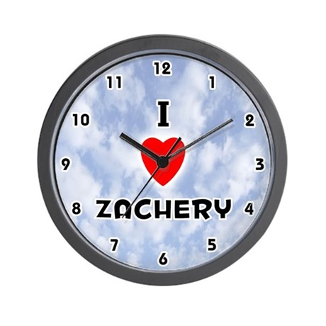 I Love Zachery (Black) Valentine Wall Clock