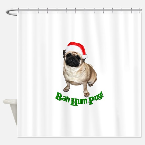 Santa pug Shower Curtain