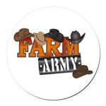 Farm Army Round Car Magnet