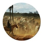 Herding Cattle Round Car Magnet