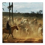 Herding Cattle Square Car Magnet 3