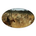 Herding Cattle Sticker (Oval 50 pk)
