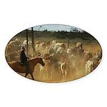Herding Cattle Sticker (Oval 50 pk)