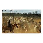 Herding Cattle Sticker (Rectangle)