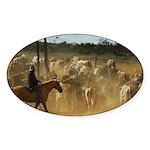 Herding Cattle Sticker (Oval)